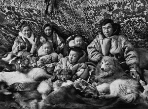 Portraits of Nenets in their tchoums
