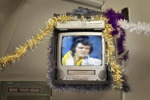 TV screen showing Elvis with tinsel