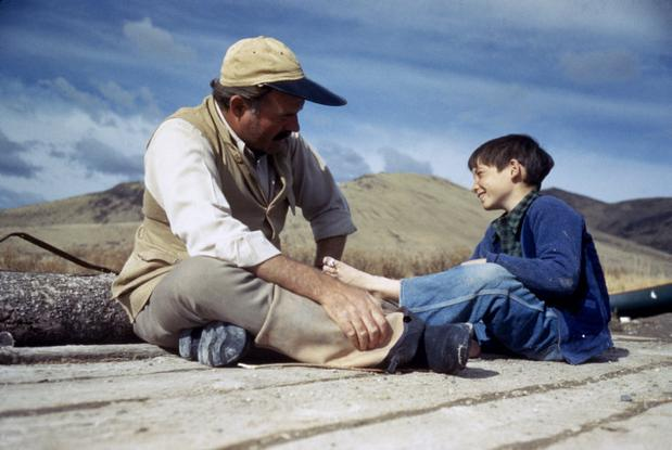 USA. Sun Valley, Idaho. October 1941.  Ernest Hemingway with his son, Gregory.