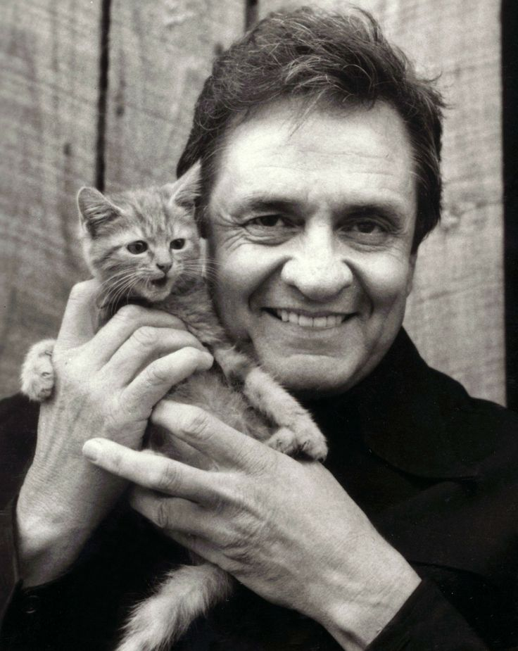 Man in Black with kitten
