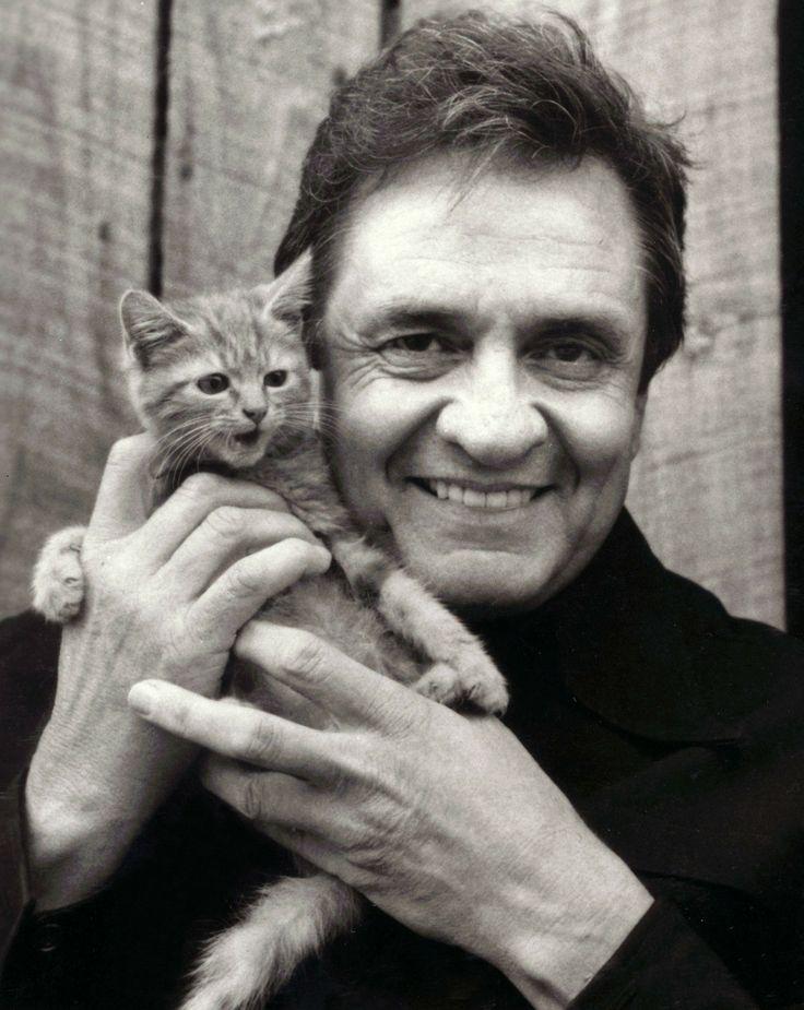 Man in Black with kitten
