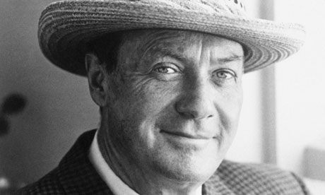 Ross Macdonald, creator of Lew Archer, wearing a straw hat